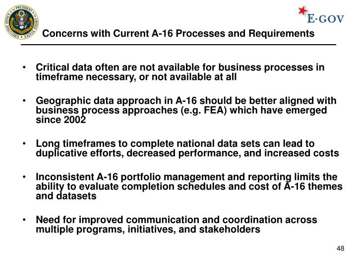 Concerns with Current A-16 Processes and Requirements