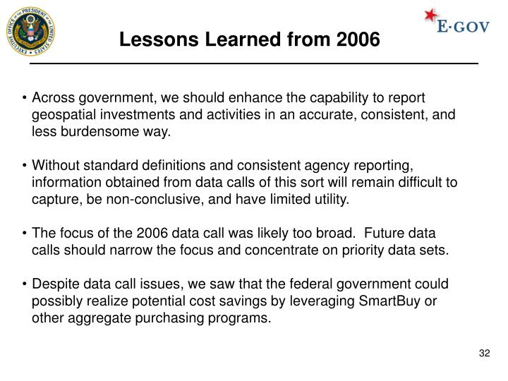 Lessons Learned from 2006