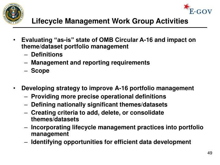 Lifecycle Management Work Group Activities