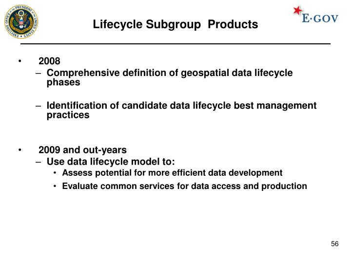 Lifecycle Subgroup  Products
