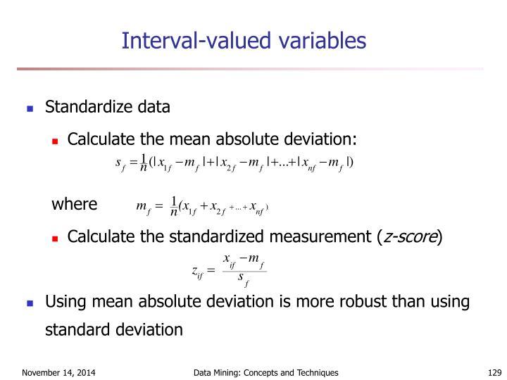Interval-valued variables