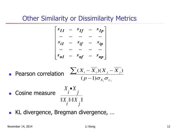 Other Similarity or Dissimilarity Metrics