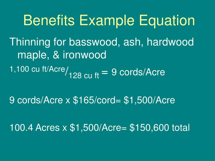Benefits Example Equation