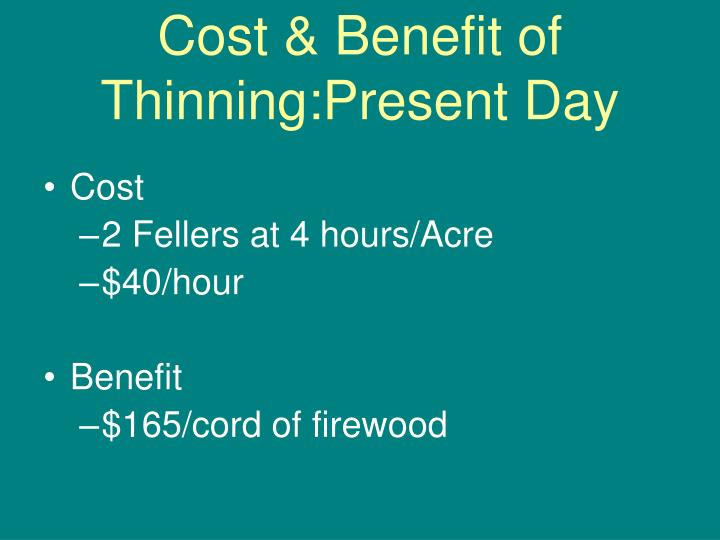 Cost & Benefit of Thinning:Present Day