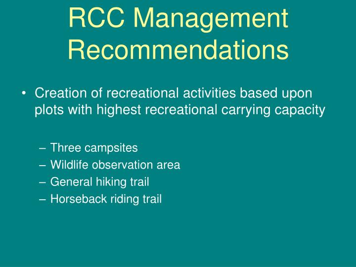 RCC Management Recommendations