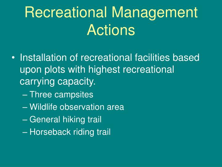 Recreational Management Actions
