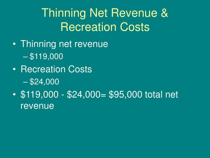Thinning Net Revenue & Recreation Costs