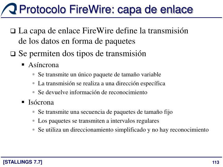 Protocolo FireWire: capa de enlace