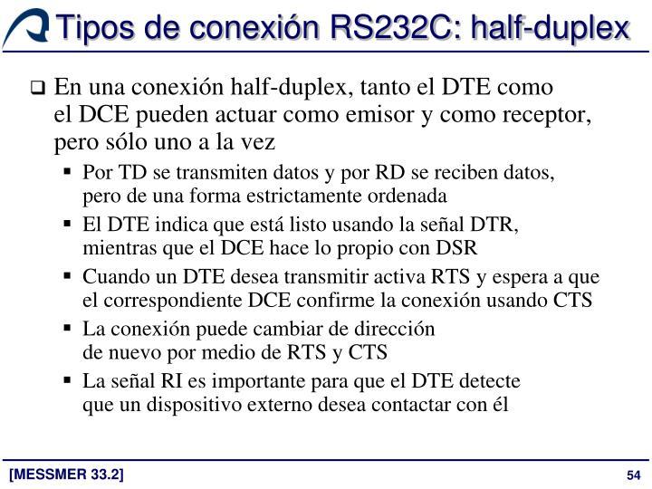 Tipos de conexión RS232C: half-duplex