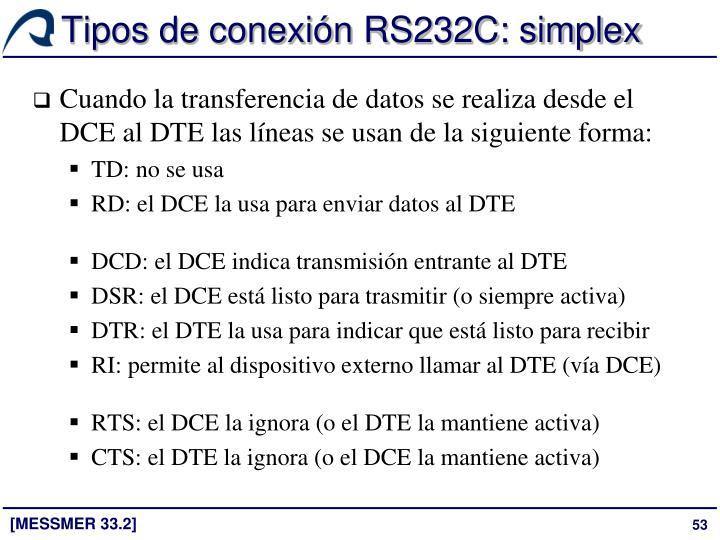 Tipos de conexión RS232C: simplex