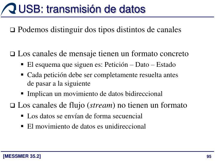 USB: transmisión de datos