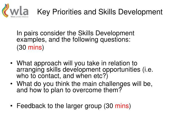 Key Priorities and Skills Development