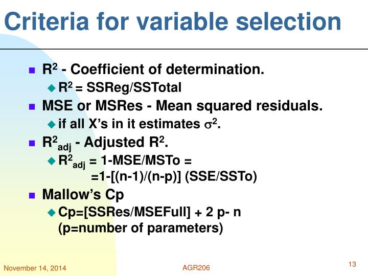 Criteria for variable selection