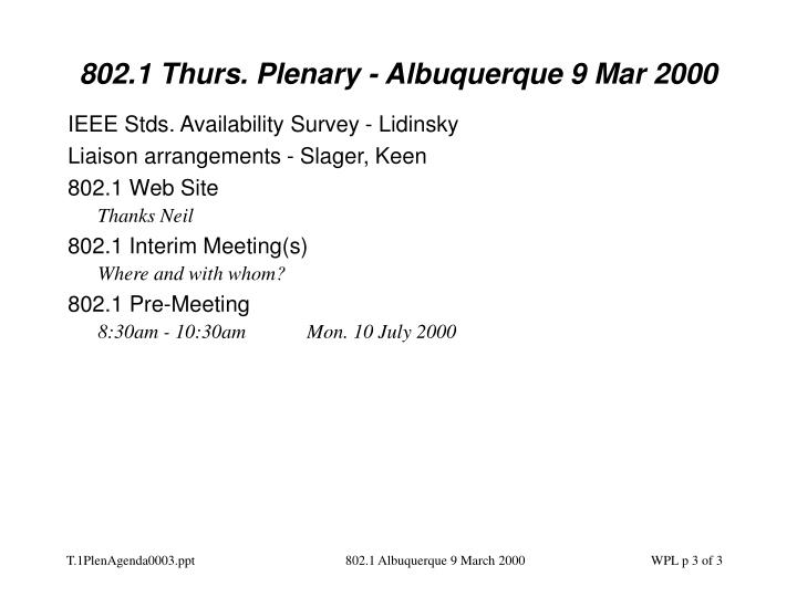 802.1 Thurs. Plenary - Albuquerque 9 Mar 2000