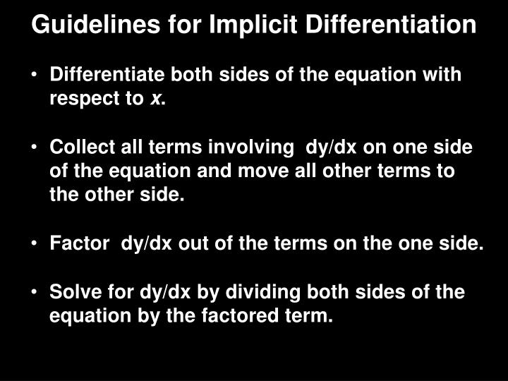 Guidelines for Implicit Differentiation