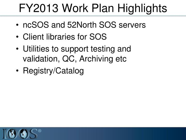 FY2013 Work Plan Highlights