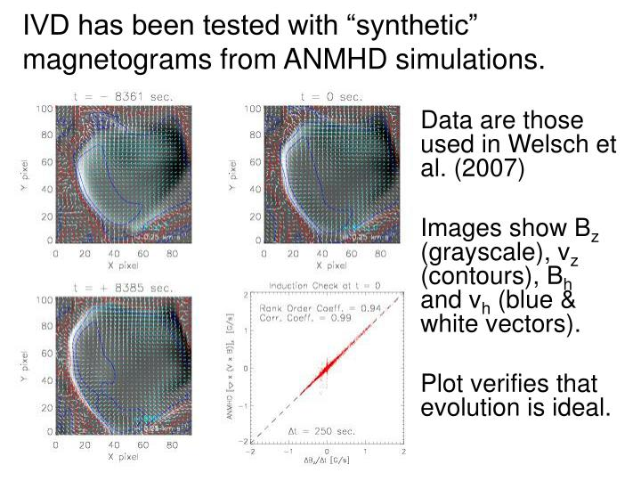 "IVD has been tested with ""synthetic"" magnetograms from ANMHD simulations."