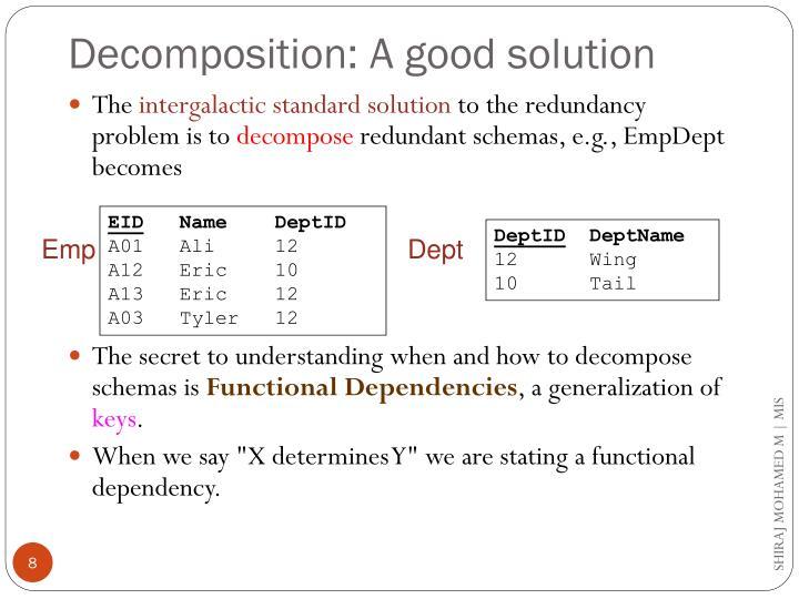 Decomposition: A good solution