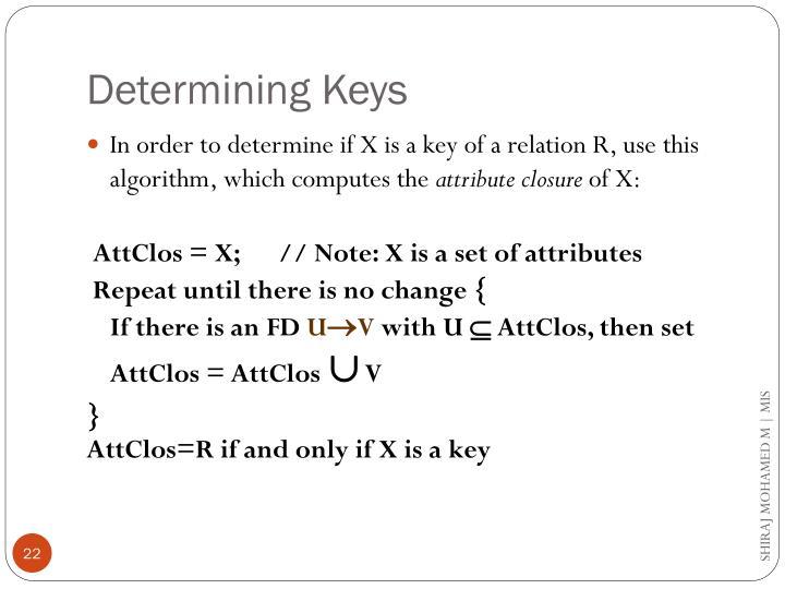 Determining Keys