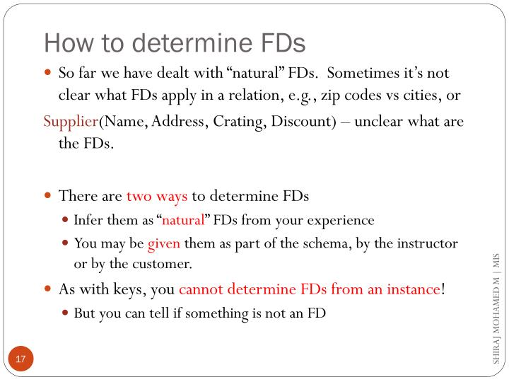 How to determine FDs