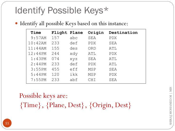 Identify Possible Keys*