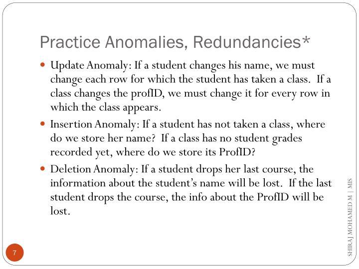 Practice Anomalies, Redundancies*