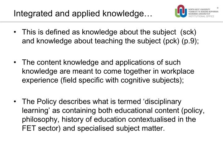Integrated and applied knowledge…