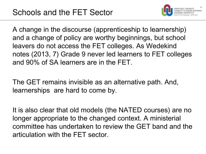 Schools and the FET Sector