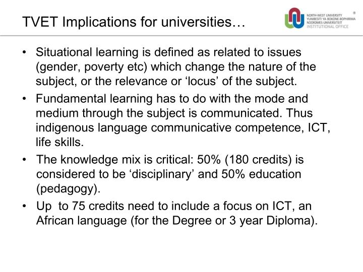 TVET Implications for universities…