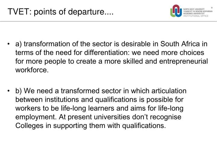 TVET: points of departure....