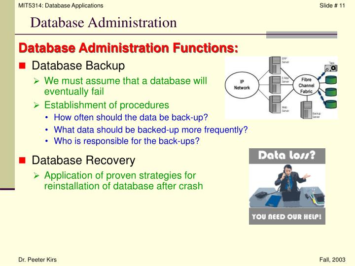 Database Administration Functions: