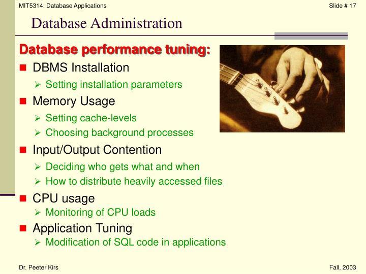 Database performance tuning: