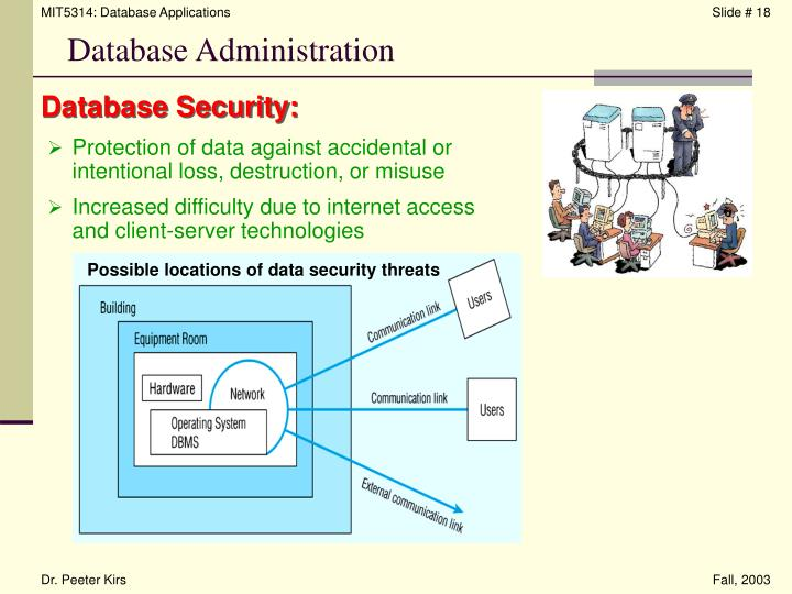 Possible locations of data security threats