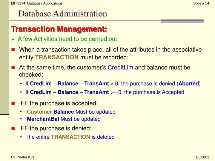 Transaction Management: