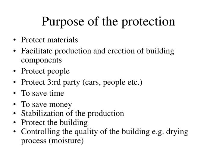 Purpose of the protection