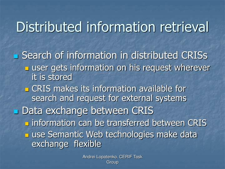 Distributed information retrieval