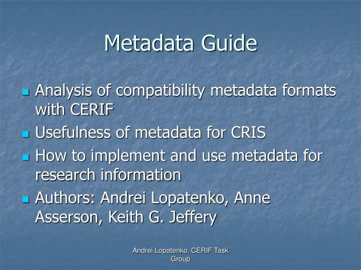 Metadata Guide