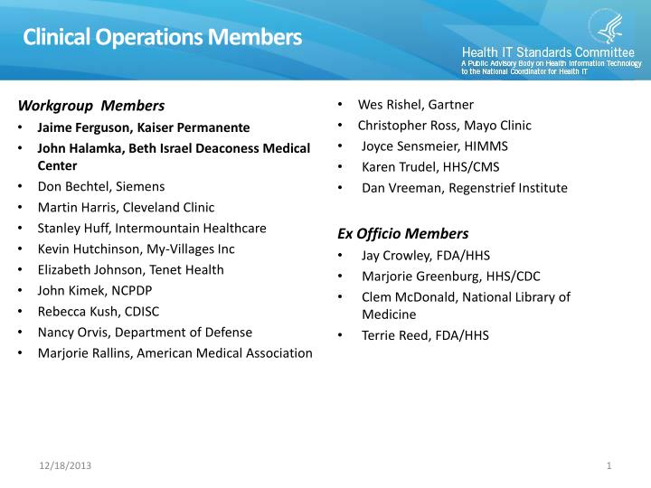 Clinical Operations Members