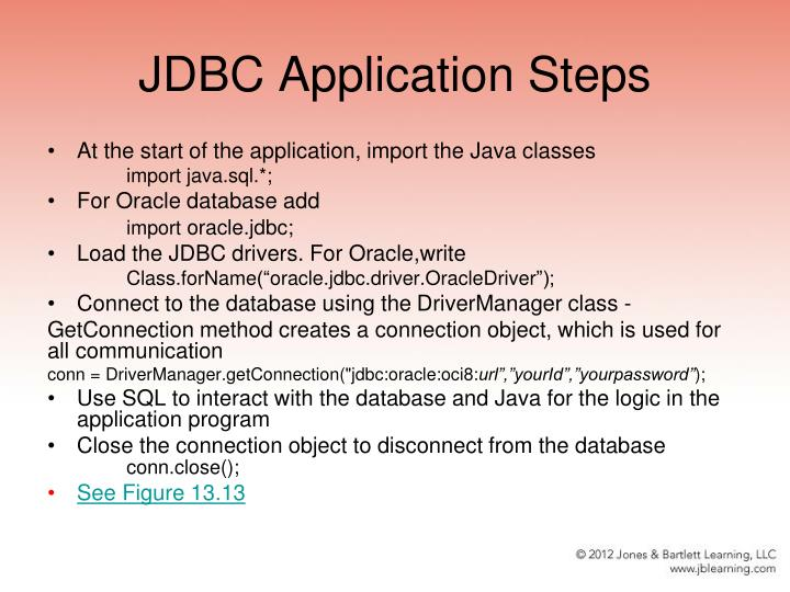 JDBC Application Steps