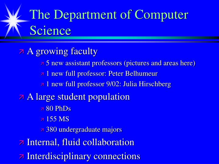The Department of Computer Science