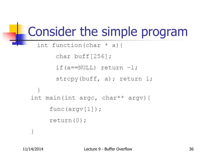 Consider the simple program