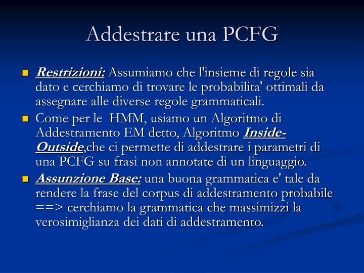 Addestrare una PCFG