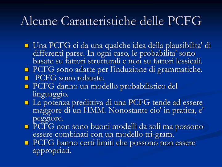 Alcune Caratteristiche delle PCFG