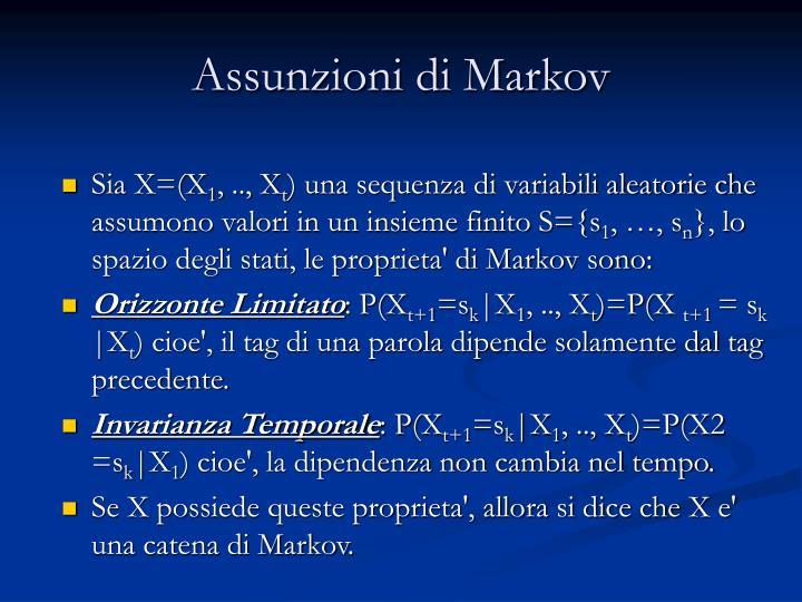 Assunzioni di Markov