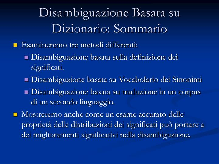 Disambiguazione Basata su Dizionario: Sommario