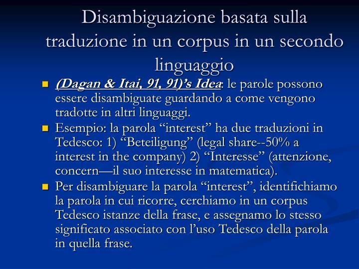Disambiguazione basata sulla traduzione in un corpus in un secondo linguaggio