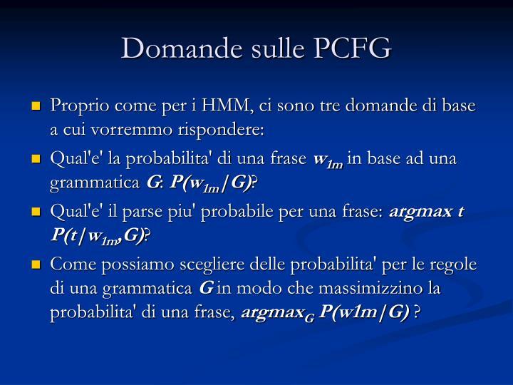 Domande sulle PCFG