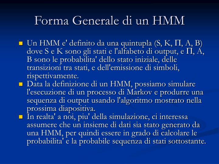 Forma Generale di un HMM