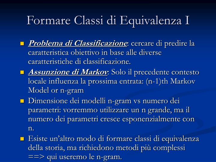 Formare Classi di Equivalenza I