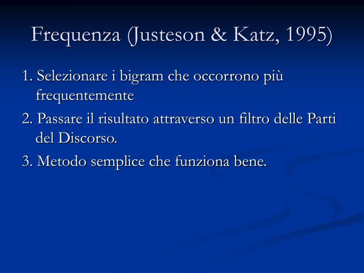 Frequenza (Justeson & Katz, 1995)